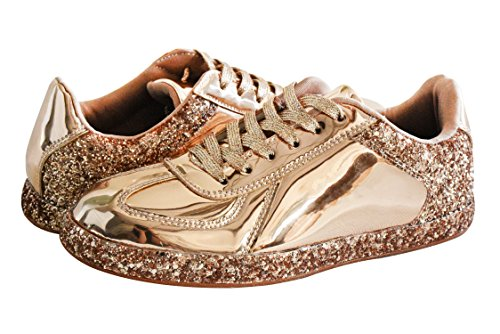 28691f7820a40 ROXY ROSE Womens Sneaker Flats Metallic Leather Glitter Fashion ...