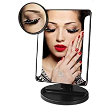Vanzon Tabletop LED Lighted Vanity Mirror / Natural Bright Light Makeup Mirror with Touch Screen,180 Degree Rotation,Movable with 10x Magnification Spot Mirror,AA Batteries Included (Black)