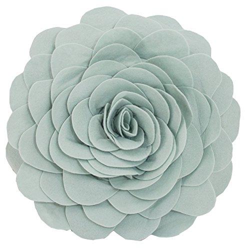 Eva's Flower Garden Decorative Throw Pillow With Insert - 13 inch Round (Aqua-Case Only) from Fennco Styles