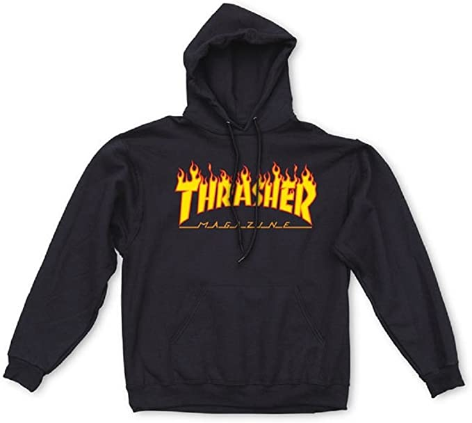 Thrasher Flame Hoodie, Black, Medium