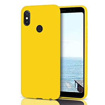 MoEvn Funda Xiaomi Redmi Note 5 Silicona, Amarillo Redmi Note 5 Carcasa Mate Case Cover TPU Suave Slim Anti Skid Anti Rasguño Candy Color Gel Funda ...