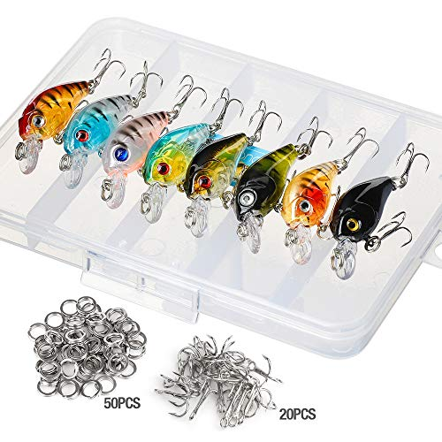 Donql Fishing Lure Set Minnow Baits Kit Wobbler Crankbaits with Hooks Hard Popper Lures for Saltwater Freshwater Trout Bass Salmon Fishing (Type 1-4.5 cm / 4g)