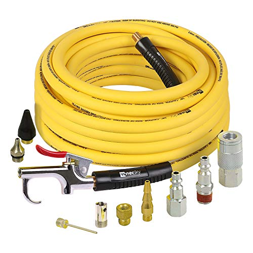 WYNNsky Air Compressor Accessories Kit, 3/8 Inch × 50 Feet Hybrid Air Hose with 1/4 Inch Male NPT Brass Connection, Bend Resistent, 3 Pieces Industrial Air Fittings, Air Blow Gun with 6 Pieces Nozzles