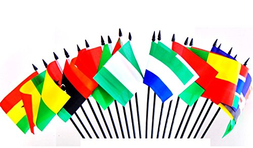 "NORTHWEST AFRICAN WORLD FLAG SET--20 Polyester 4""x6"" Flags, One Flag from 20 Countries in Northwest Africa, 4x6 Miniature Desk & Table Flags, Small Mini Stick Flags"