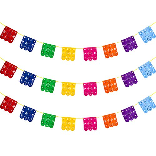 Blulu Picado Banners Cinco De Mayo Fiesta Banners Colorful Picado Banner for Mexicano Festival Fiesta Party Decorations (24 Pieces, Style -