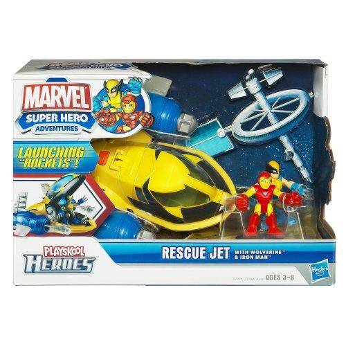 Marvel Super Hero Adventures Playskool Heroes Rescue Jet with Wolverine & Iron (Rescue Jet)