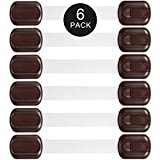 Child Safety Lock- Adjustable Lock Latches for Baby Proof Cabinets, Drawers, Toilet Seat, Fridge, Appliances- No Tools Needed, 6 Pack, Brown and White By Lighting Mall