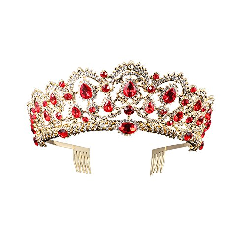 Baroque Royal Queen Gold Wedding Crown Crystal Princess Tiara Headbands for Women Bridal Party Birthday Headpieces -