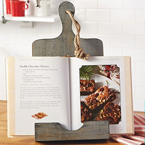 Mud Pie 4721003 Paddle Board Weathered Wood Rustic Cookbook Holder, Gray