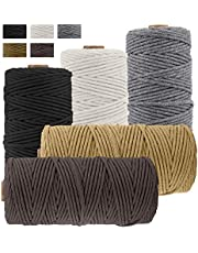 JeogYong Pack of 5 Macrame Cord 3mm x 109 Yards, Natural Cotton Macrame Cord, 4 Stand Craft Cord Spool Natural Twisted String Cotton Rope for Wall Hanging, Plant Hangers, Knitting, Decorative Projects