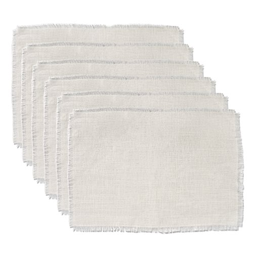 DII CAMZ37829 PLACEMAT Bleached Jute S/6, Ivory 6 Piece ()
