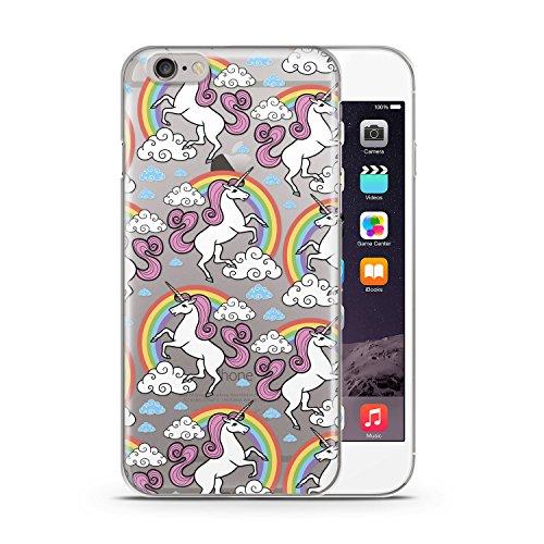 Einhorn Unicorn Muster Apple iPhone 6 & 6S SLIM HARDCASE Durchsichtig Hülle Cover Case Schutz Schale Fun Funny