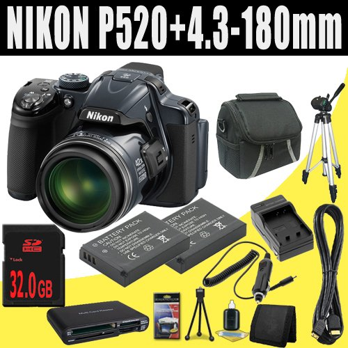 Nikon COOLPIX P520 18.1 MP Digital Camera with 42x Zoom (Dark Grey) + TWO EN-EL5 Replacement Lithium Ion Batteryw/ External Rapid Charger + 32GB SDHC Class 10 Memory Card + Mini HDMI Cable + Carrying Case + Full Size Tripod + SDHC Card USB Reader + Memory Card Wallet + Deluxe Starter Kit DavisMAX Bundle