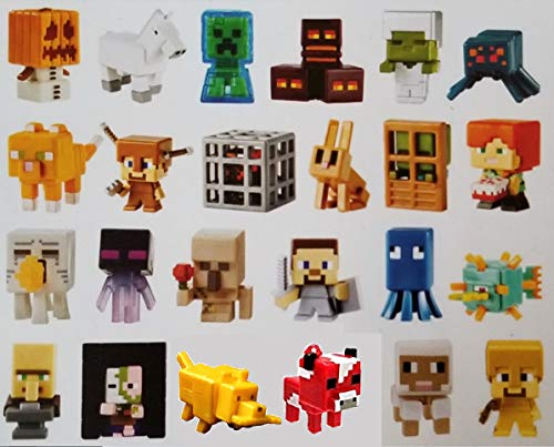 Mattel 24 Pack Complete Case Minecraft Minifigures Set of Mini Figures in Blind Boxes Alex Steve Creeper Horse Ghost Dog Bunny Spider Sheep Cat Zombie Duck Villager Jakolantern Gold Chest Series 3