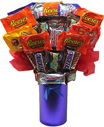 Candy Well Bouquet Soon - Candy Bouquet Fun Sized Mini Candy Variety Assortment - Congratulations - Birthday - Get Well Soon - Thank You