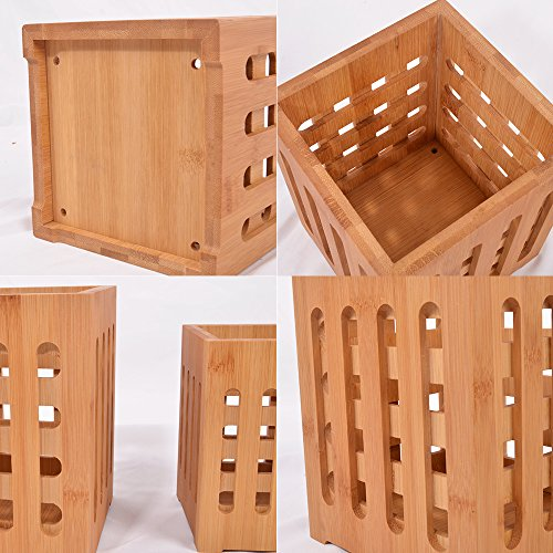 SZUAH Bamboo Utensil Holder + Flatware Holder, Large Capacity Utensil Cutlery Caddy Organizer with Drainer Holes & Lattice, 2 Pack (6.6x5.5, 5.48x4) by SZUAH (Image #4)