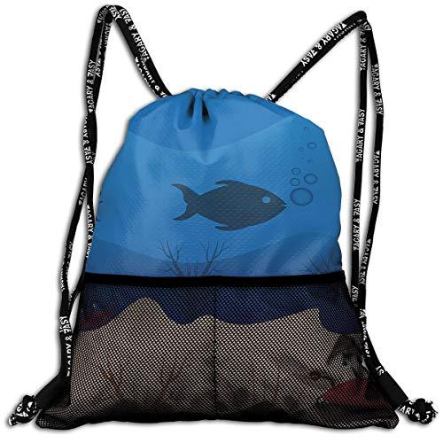 Drawstring Backpacks Deep Sea Fish Leisure Bundle Backpack