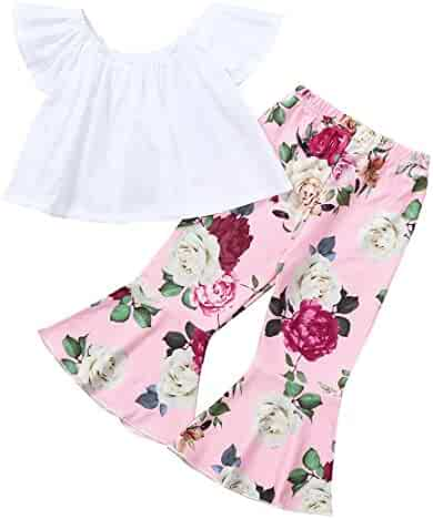 7afcd3d06bb ZHANGVIP 2018 New 2Pcs Toddler Baby Kids Girls Solid Off Shoulder Tops+Floral  Pants Set