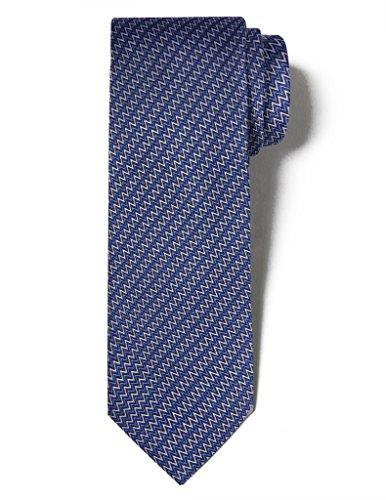 Origin Ties Silk Formal Business Tie Herringbone Striped Men's Classic Necktie Blue