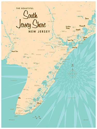 South Jersey Shore Map Vintage-Style Art Print by Lakebound (18