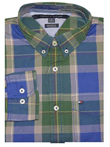 Tommy Hilfiger Men Custom Fit Plaid Shirt (S, Blue/Green/Multi)
