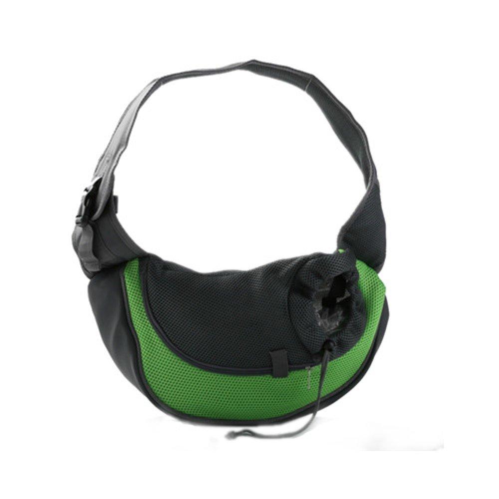 Pet Small Dog Sling Front Mesh Comfort Travel Carrier Puppy Cat Shoulder Bag Carrying (L, Green)