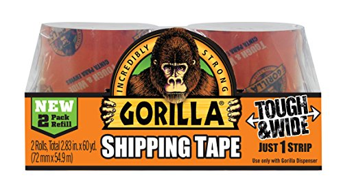 Gorilla Packing Tape Tough & Wide Refill, 2.83″ x 30 yd., 2 Rolls