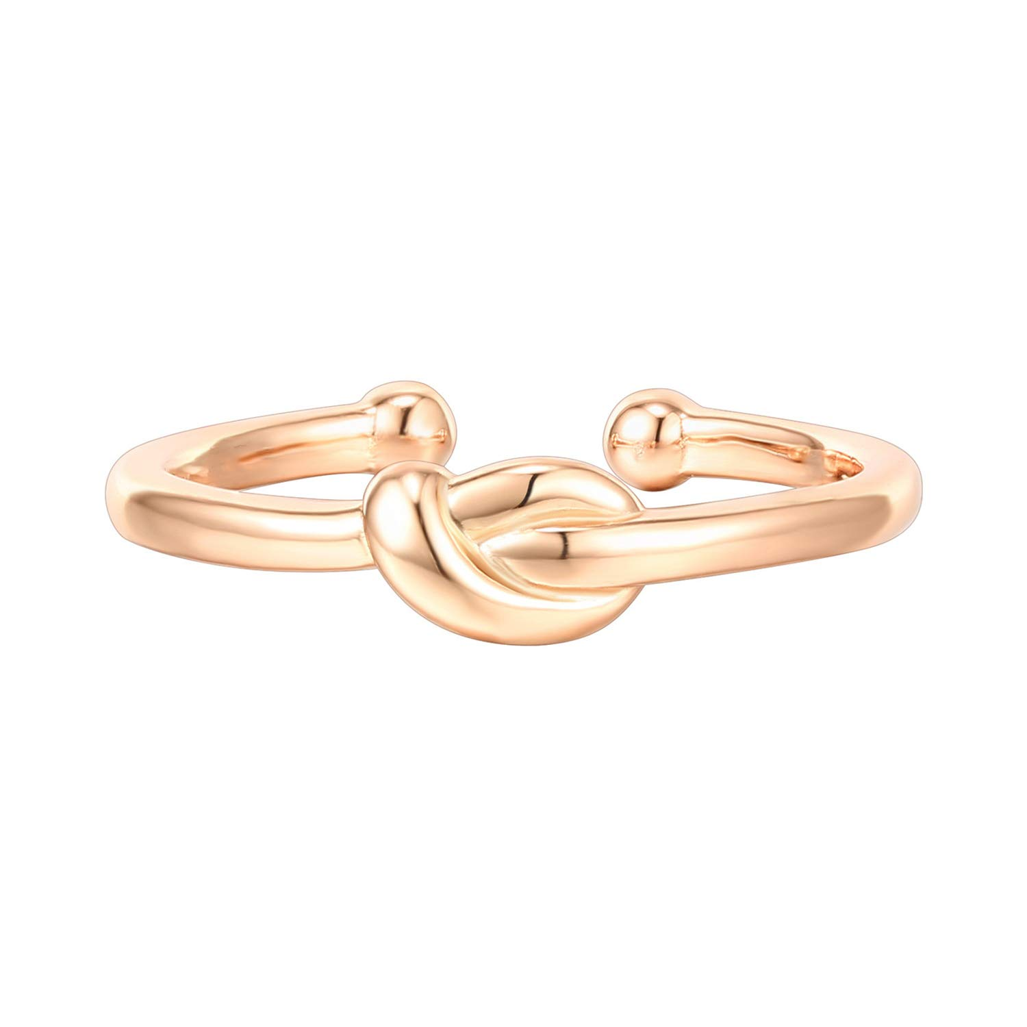 PAVOI 14K Gold Plated 925 Sterling Silver Rings for Women | Promise Rings for Her | Love Knot Stackable Rings | Rose Gold Rings by PAVOI