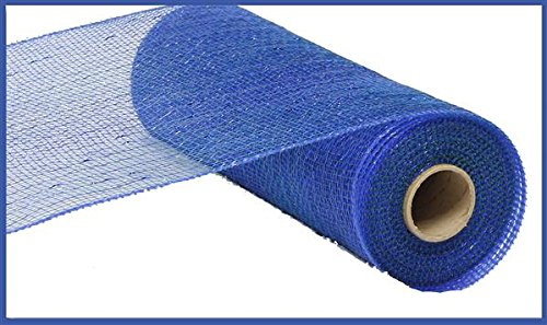 10 inch x 30 feet Deco Poly Mesh Ribbon - Metallic Peacock Blue with Royal Blue Foil (Metallic Blue Ribbon)