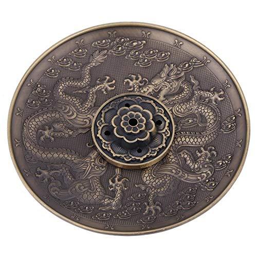 Xigeapg Zinc Alloy Incense Stick Burner Holder Dragon Pattern Censer Plate for Candle Aromatherapy Furnace Incense Base Bronze