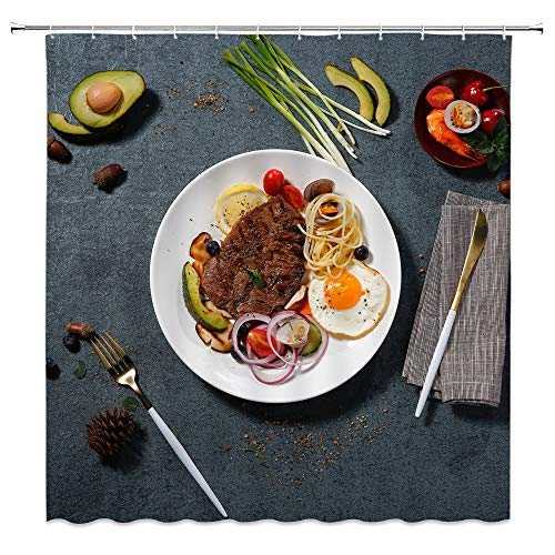 Steak Shower Curtain Decor, Steak Egg Pasta Lemon Cucumber Shallot Cherry Tomato Shrimp Avocado Pinecone, 70 x 70 Inches Waterproof Mildew Resistant Polyester Fabric Machine Washable With 12pcs Hooks