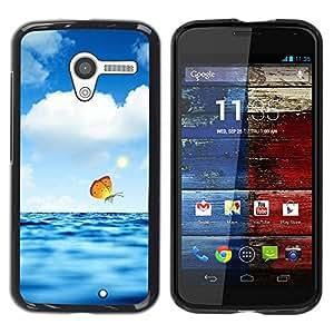 Caucho caso de Shell duro de la cubierta de accesorios de protección BY RAYDREAMMM - Motorola Moto X 1 1st GEN I XT1058 XT1053 XT1052 XT1056 XT1060 XT1055 - Butterfly Clouds Blue Sea Water Nature