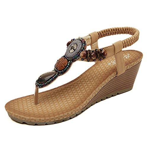 DophinGirl Women Beige Jewels Wedge Platform Basic Comfy String Summer Beach Thong Sandals Shoes Prime (Womens Platform Sandal Fancy)