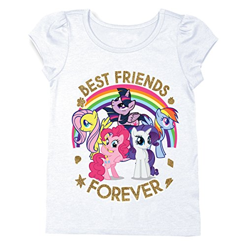 My Little Pony Girls T-Shirt - Hasbro MLP Girls Short Sleeve Puff Shirt - Rainbow Dash, Twilight Sparkle, Pinky Pie (White, 2T)