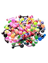 BodyJ4You® Flexible Belly Ring Assorted Lot of 100 Bioplast 1.6mm Bananabell
