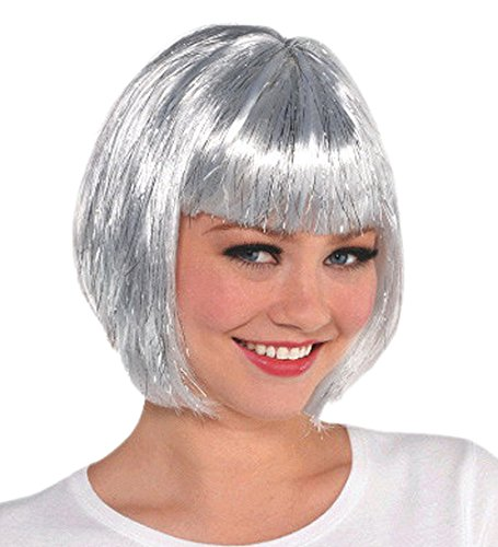 Silver Bob Style Wig (Wigs and Adult Costume Accessories plus Children Alike) Fun Party Supplies.