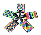 Adecco LLC 5pcs Colorful Tetris Pattern Rubber ID Tags Business Card Holder for Luggage Baggage Travel Identifier, Suitcase Label