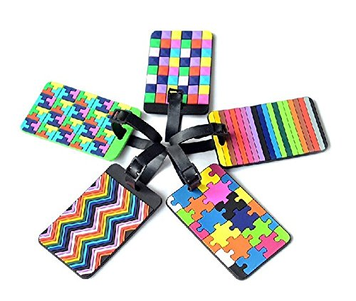 Adecco Colorful Tetris Pattern Rubber ID Tags
