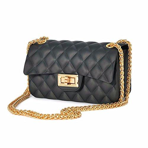 Carta opaca per sacchetto in chiffon jelly bag sacca catena mini borsa messenger bag, nero