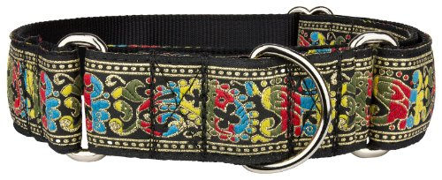 Country Brook Design 1 1/2 Inch Colorful Paisley Woven Ribbon Martingale Dog Collar-L