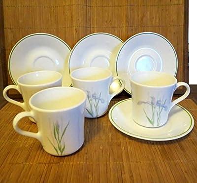 8 pc Set Corelle Corning Ware Shadow Iris 4 Coffee Cups / Mugs and 4 Saucers