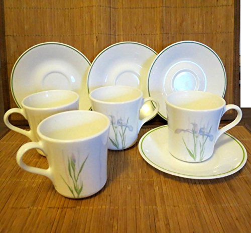 8 pc Set Corelle Corning Ware Shadow Iris 4 Coffee Cups / Mugs and 4 Saucers Corelle Corningware Shadow Iris