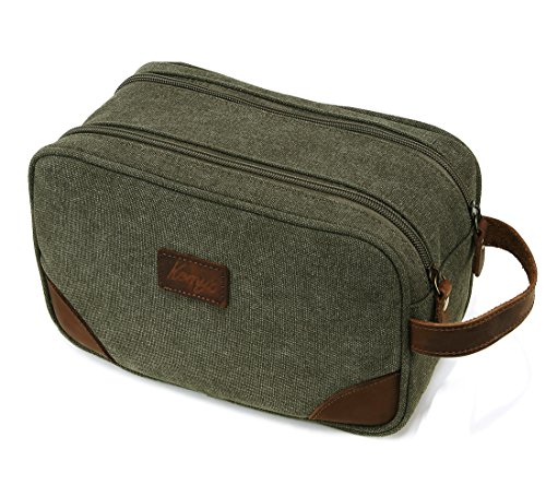 Mens Bathroom Travel Bag Shaving Bags for Men Vintage Canvas Leather Toiletry Bag Dob Dopp Kit  Women Makeup Bags cosmetics Traveling, Military Green, Large, Kemy's (Two Large Zipper)