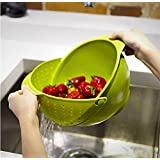 Generic Innovative Rinse Bowl And Strainer In One (Multicolor)