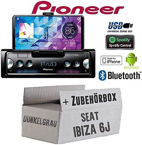Radio para Coche Pioneer SPH-10BT de Seat Ibiza 6J, Color Gris Oscuro, Receptor de Smartphone con Bluetooth, Spotify, Android, iPhone, 4 x 50 W, Accesorios de Montaje, Kit de instalación: Amazon.es: Electrónica