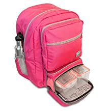 Fitmark Transporter Backpack with Removable Meal Prep Insulated Bag with BPA Free Portion Control Meal Containers, Reuseable Ice Packs, Pink