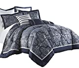 Blue and White King Comforter Chezmoi Collection Com Mayan 7-Piece Navy Jacquard Floral Comforter Set (King)