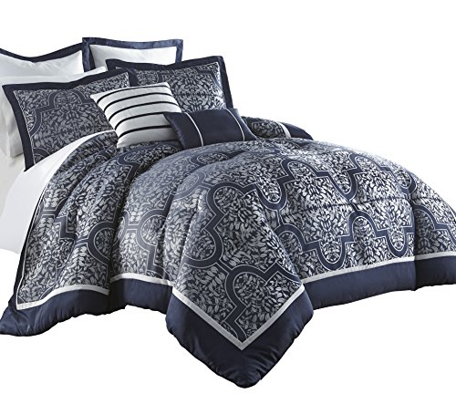 Chezmoi Collection Mayan 7-Piece Navy Jacquard Floral Comforter Set (King)