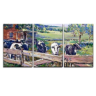 Calming Countryside With Cows in Saxony - 3 Panel Canvas Art