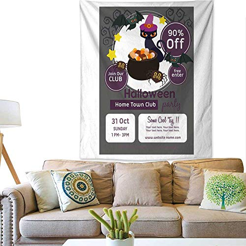 BlountDecor Simple Tapestry Halloween Poster Template with Pot of Candy 51W x 60L INCH